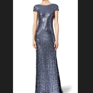 Badgley Mishka Sequin Evening Gown Blue Silver